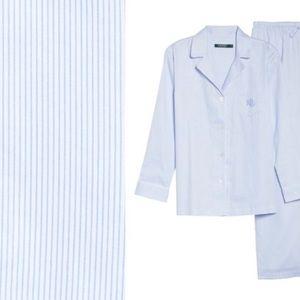 NWT RALPH LAUREN Sateen Pajamas Blue Stripe XS